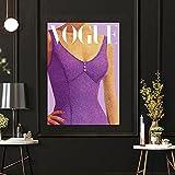 CloudShang Vogue Vintage Púrpura Salon de Decoracion De la Lona Púrpura Moda Sexy Vestido Mujer Pared Arte Estilo Vogue Pintura Moda Mujer Salon Tienda Vestido Poster Mujer Poster I30088