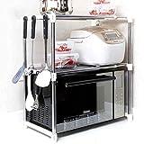 W-SHTAO L-WSWS-Speicherregal Tier 2 Mikrowellenherd Ständer, Küchenschränke und Gegen Regal Organizer, Verstellbare Edelstahl Ofenrost Küche