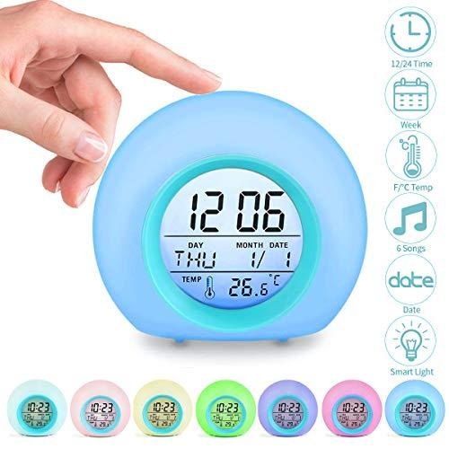 Jeteven Réveil Enfants Numérique Horloge Créatif Rond Calendrier Perpétuel Lampe Réveil avec 7 Couleurs de LED Réveil Chevet pour Enfant Bébé (Bleu)