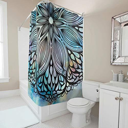 ANVPI Douchegordijn, zwarte mandala, bedrukt met kleurverloop, antibacterieel, wasbaar, douchegordijn, badkuip