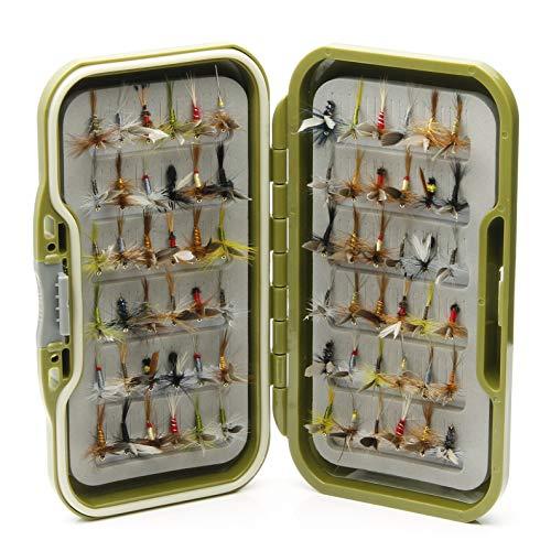 Lakeland - Caja de pesca impermeable + 10, 25, 50 o 100 moscas de trucha secas con alas, Hook Size 14