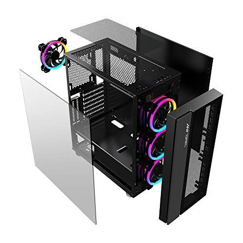 Ant Esports ICE-511MT Mid Tower Mesh Gaming Cabinet Computer Case Supports E-ATX, ATX, Micro-ATX, Mini-ITX Motherboard with Sliding Tempered Glass Side Panel, 3 x 120mm Auto-RGB Front & 1 x120mm Fan