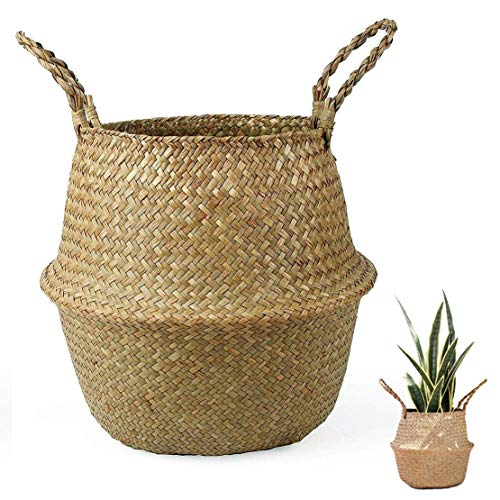 Poetance Maceta Cesta de Mimbre cestas Mimbre Tejida de Algas Maceta Plegable cesto de Ropa pequeño Material Seguro Natural Puro