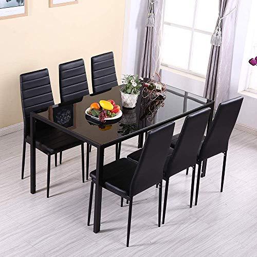 De alto brillo mesa de comedor y seis sillas juego con estilo, mesa de la cocina Mobiliario de comedor,Black