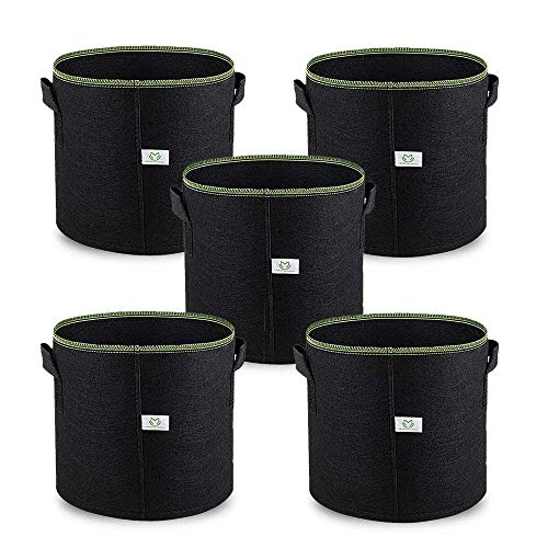 5Galloni   20L Sacchetto di Crescita Delle Piante Plant Grow Bag, 5 Pezzi Pianta Coltiva la Borsa Giardino Vivaio Piantatore Borse per Coltivazione di Patate Vegetali, Materiale Baturale traspirante
