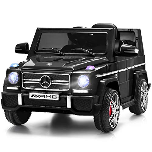 Costzon Kids Ride On Car, Licensed Mercedes Benz G65, 12V Battery Powered Electric Vehicle, Parental Remote Control & Manual Modes, Music, Horn, LED Headlights, USB MP3 Functions (Deluxe Black)