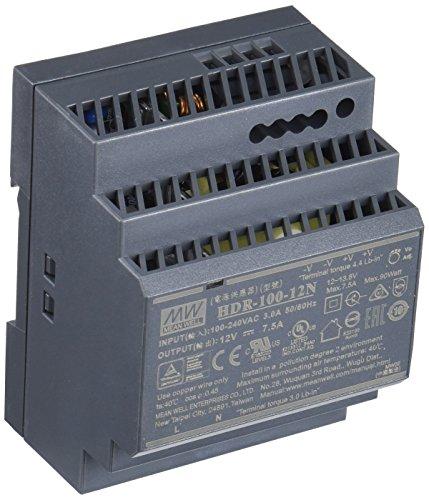 Mean Well HDR-100-12N Fuente de alimentación: 1 Salida de 100 W, Montaje en Carril DIN 12 V 7,5 A, para Uso Industrial