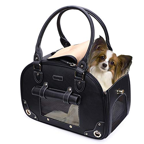 PetsHome Dog Carrier Purse, Pet Carrier, Cat Carrier, Foldable Waterproof Premium Leather Pet Travel Portable Bag Carrier for Cat and Small Dog Home & Outdoor Medium Black