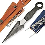 ColdLand Knives Damascus Knife Making Kit DIY Handmade Damascus Steel Includes Dagger Blank Blade, Pins, Leather Sheath, Handle Scales for Knife Making Supplies HSMK02