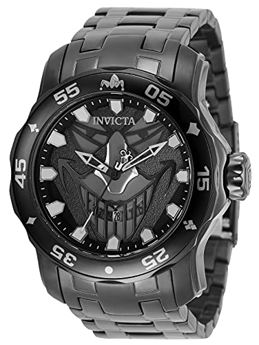 Invicta DC Comics Joker Reloj de cuarzo para hombre con correa de acero inoxidable, negro, 26 (Modelo: 35616)