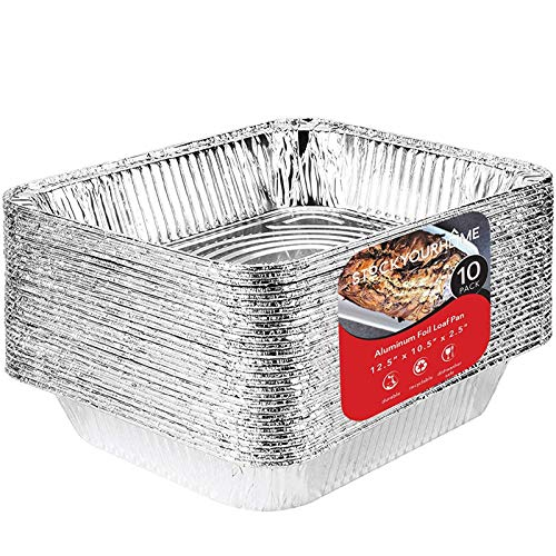 Aluminum Pans 9x13 Disposable Foil Pans (10 Pack) - Half Size Steam Table Deep Aluminum Trays - Tin Foil Disposable Pans Great for Cooking, Heating, Storing, Prepping Food