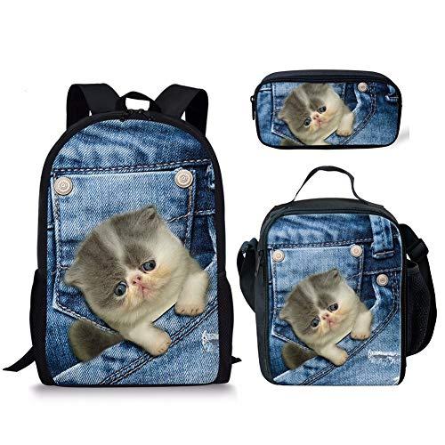 Set di 3 zainetti con stampa di gattini in denim, con motivo a fantasia, borsa per la scuola Denim Kitten3 Taglia unica