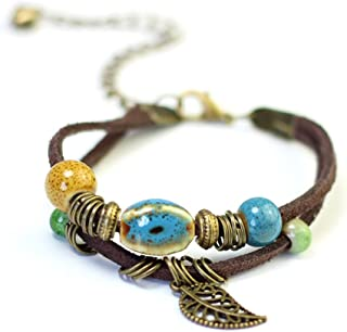 Bohemian Double Layer Adjustable Handmade Leather Bracelet with Small Bell Retro Tree Leaf Ceramic Beads for Men Women
