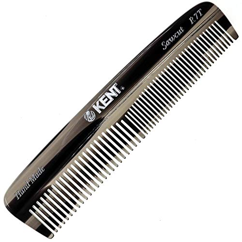 Kent R7T Graphite Double Tooth Hair Pocket Comb, Small Fine/Wide Tooth Comb For Grooming Styling Hair, Beard and Mustache, for Men, Women and Kids. Saw Cut and Hand Polished. Handmade in England