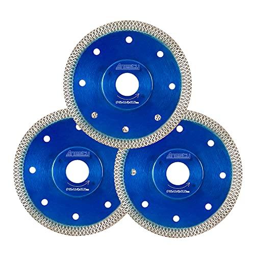 Diamant-Trennscheibe 125 mm, Premium Diamanttrennscheibe Set 3-tlg extra dünne Fliesenscheibe zum Trennen von harte Fliesen Keramik Feinsteinzeug - Fliese Trennscheibe Ø125 mm x 22,23 mm