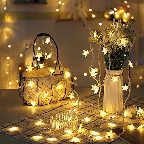 Guirnalda de Luces, Luces Estrellas de Hadas a Pilas 70 luces LEDs Luces en Cadena para Navidad Halloween Decoración para Salón de Bodas Fiesta en el Jardín (Blanco cálido)