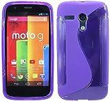 ENERGMiX Silikon Hülle kompatibel mit Motorola Moto G (1.Gen.) Schutzhülle Hülle Cover Gel in Violett