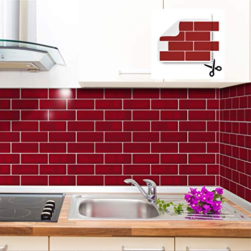 WALPLUS Cherry Red Metro 3D Metro Sticker Tiles 30 x 30cm Retro Wall Peel and Stick Backsplash Mosaics, Self adhesive, Glass Effect, Peel and Stick, Bathroom Decoration, DIY, Kitchen Décor