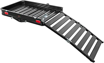 CURT 18112 50 x 30-1/2-Inch Aluminum Hitch Cargo Carrier with Ramp, 2-Inch Receiver