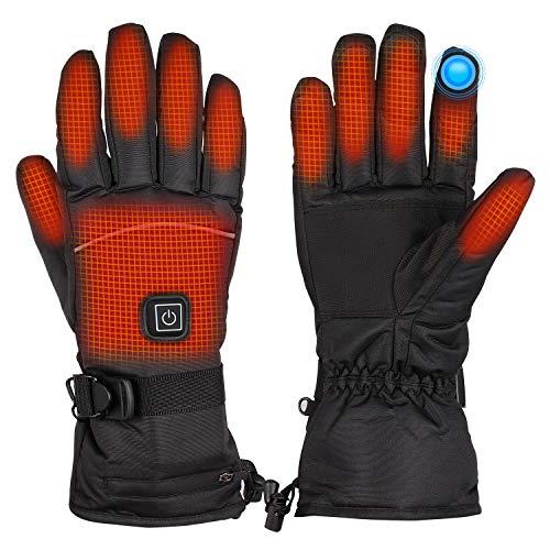 upstartech Beheizte Handschuh, Elektrisch Heizung Handschuhe mit Batterie für Herren Damen, 3 Heizungseinstellungen, Winter Warme Handschuh für Outdoor Camping, Angeln, Radfahren, Skifahren