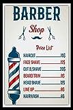 ZMKDLL Barber Shop Price List Hair Stylist Beard Hairdresser Metal Sign Tin Plaque-Tin Sign 8x12 Inch