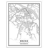 Bosnien-Herzegowina Schwarz Weiß Weltstadtkarte Poster