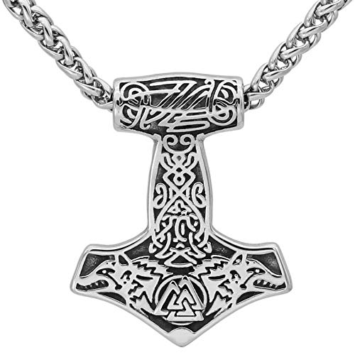 GuoShuang Nordic Viking Stainless Steel Thor Hammer Mjolnir Odin Wolf Valknut Necklace with Valknut Gift Bag¡­