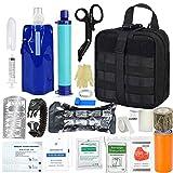 TOUROAM Kit de Trauma de Supervivencia de Emergencia - Kit de Primeros Auxilios táctico Molle, purificador de Filtro de Agua Personal Paja, Equipo de preparación para desastres en Caso de huracán