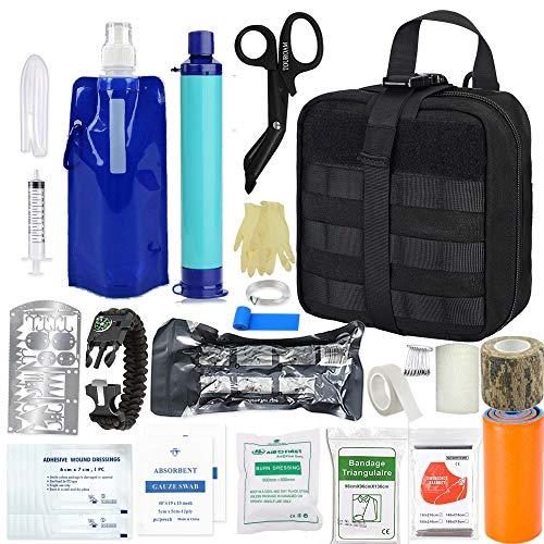 Kit di trauma sopravvivenza emergenza Kit pronto soccorso tattico Molle, filtro depuratore d'acqua personale Paglia, uragano Strumenti per la preparazione alle catastrofi ma fuori borsa per campeggio