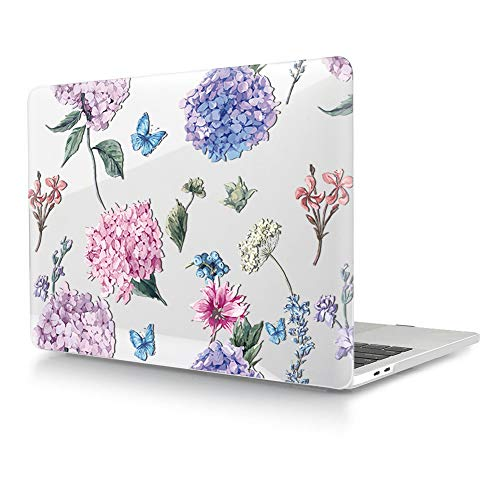 HRH Fashion Flower Clear Glossy Design Laptop Body Shell Protective Hard Case for MacBook Newest Air 13\' Inch with Retina Display fit Fingerprint Touch ID (Model A1932,2018 Release)