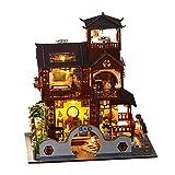 decaden 12.79x12.20x10.24zoll Miniatur Puppenhaus Kits Dora Loft Handwerk Holz Puppenhaus Modell Kits Retro-Pavillon DIY-Gebäudemodell Bastelset Miniatur Haus Modell Bausatz Geschenk