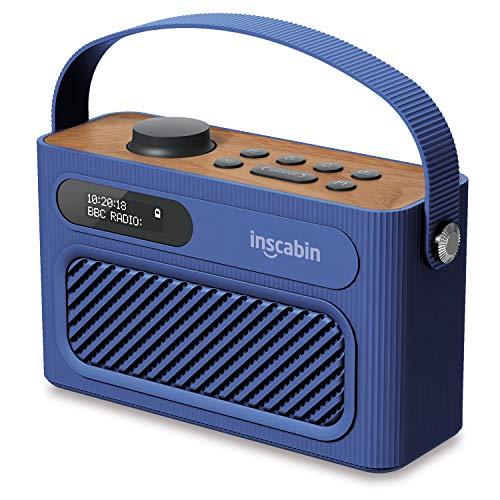 Inscabin M60 Tragbarer DAB/DAB + FM-Digitalradio/Tragbarer drahtloser Lautsprecher mit Bluetooth/Stereo-Sound/Doppellautsprecher/Doppelwecker/Subwoofer/Akku/Schönes Design (Blau)
