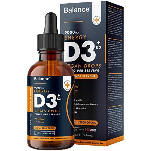 Balance Vitamin D3 + K2 Liquid Drops - High Strength 2000iu D3 + 25mcg K2-60ml Bottle - Vegan - Sublingual Fast Absorption - 75mcg per Serving - Gluten Free - GMO Free - Premium Quality - Made in UK