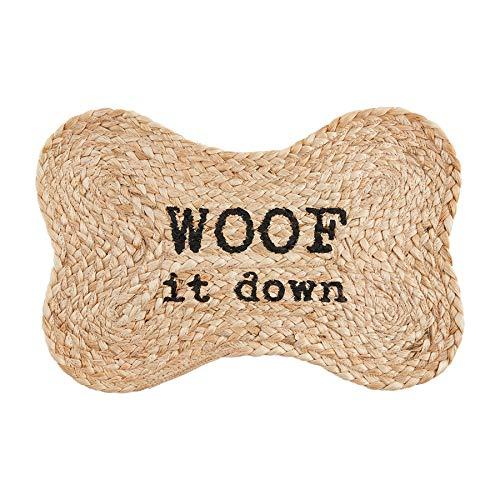 Mud Pie Jute Dog Bowl Mat, Woof