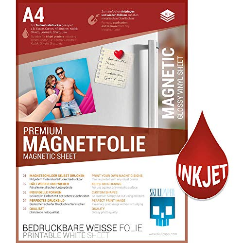 SKULLPAPER® Premium DIY Magnetfolie weiß bedruckbar bemalbar - für Inkjet Tintenstrahldrucker (A4 - 10 Blatt)