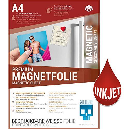 SKULLPAPER® Premium DIY Magnetfolie weiß bedruckbar bemalbar - für Inkjet Tintenstrahldrucker (A4-10 Blatt)