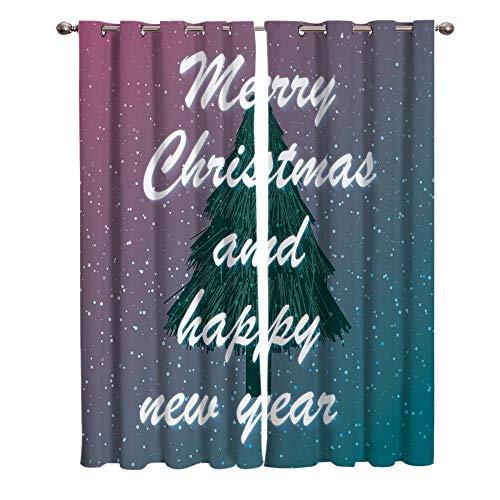 BSZHCT Gardinen Vorhang Blickdicht mit Ösen 2er Set 110x215cm Grüner Weihnachtsbaum Polyester Gardine Verdunklungsvorhänge Thermovorhang lichtdicht für Wohnzimmer Kinderzimmer