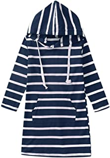 Children Girls Stripe Long Sleeve Dresses Slim Pencil Dresses with Hooded and Pocket