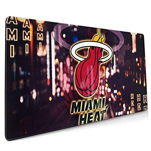 WEIQIQQ Heat_Basketball Sports_Miami XXXL Large Gaming Mouse Pad for Desk, Waterproof Office Mousepads Non-Slip Rubber Base with Stitched Edges for Home Games, Laptop Mat 18.5x35.5 Inch
