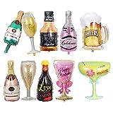 10 globos de película de aluminio para botellas de champán, globos grandes de lámina para adultos, cerveza, whisky, decoraciones para fiestas, Mardi Gras, cumpleaños, bodas, Halloween