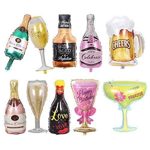 10pc Aluminium Film Champagner Flasche Luftballons, große Folie Becher Luftballons für Erwachsene Bier Whisky Party Dekorationen Karneval Geburtstag Hochzeit Halloween Party Supplies