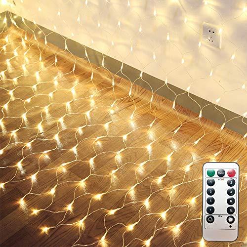 LED Lichternetz 200LED Lichterkette 3x2m mit Fernbedienung 8Modi Innen und Außen Dekoration für Halloween Weihnachten Hochzeit Party (Warmweiß)