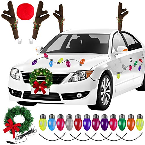 Aneco Christmas Car Decorations Set Christmas Car Wreath Christmas Car Reindeer Antlers Christmas Car Refrigerator Reflective Bulb Light LED Christmas Car Wreath for Car Christmas