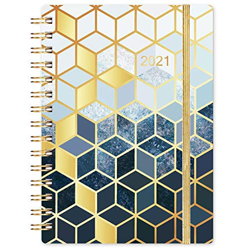 """2021 Planner - Academic Weekly & Monthly Planner, 6.4"""" x 8.5"""", January 2021 - December 2021, Flexible Hardcover with Strong Binding, Elastic Closure, Tabs, Inner Pocket"""