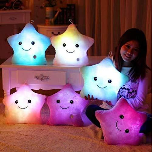 ARMAC - Cojín de iluminación único mágico en forma de estrella, almohada LED brillante, 7 colores cambiantes, cojín suave luminoso (azul)