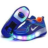 Skateboarding Zapatos con ruedas, Automática Ajustables Ruedas Zapatos LED Flash Zapatos de Roller Brillante Mutilsport Aire Libre y Deporte Gimnasia para niños y niña ( Color : Blue , Size : 33 EU )