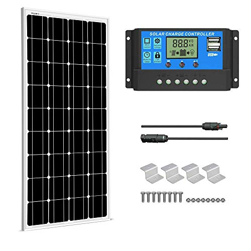 SUNGOLDPOWER Solarpanel Monokristallin Solarmodul 100 Watt 12V:1pcs 100W Monokristalline Solar Panel+20A LCD PWM SolarLaderegler+MC4 Parallel Konnector+Z Halterung
