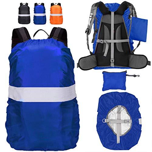 Funda para Mochila, Cubierta Impermeable de Mochila 15-65L Altamente Reflectantes Protectora Funda de Mochila Anti Polvo para Excursionismo Camping Viajar Actividades al Aire Libre (Azul, S(30-40L))