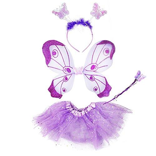 COM-FOUR® vlindervleugels met elk een bijpassende rok, hoofdband en toverstaf