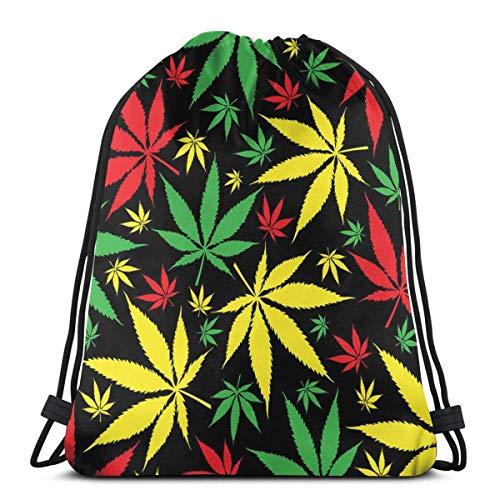Jhonangel Colorful Marijuana Pattern Drawstring Backpack Shoulder Bag Lightweight for Women 36 x 43cm/14.2 x 16.9 Inch